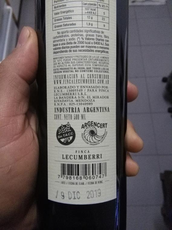 Aceite de oliva Orgánico certificado por Argencert.